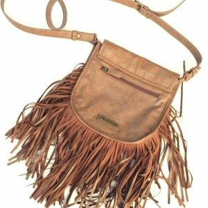 Madden Girl Brown Faux Leather Tassle Purse